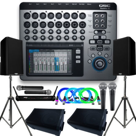 Complete Sound Package For 100-400 Gathering – 2 QSC K12.2 Main Speakers With Stand, 2 QSC CP8 Ground Monitors, QSC TouchMix16-22 Channel Full Digital Mixer, Shure Microphones And Cables( Call For The Price Details)
