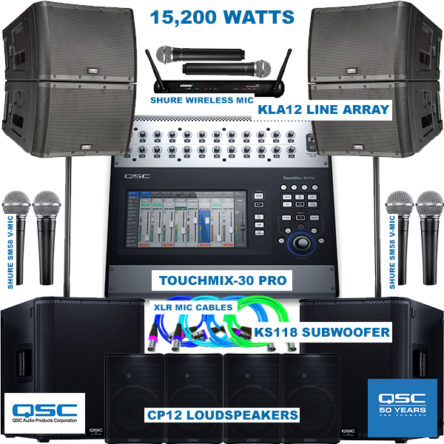 Complete Sound Package For 1000 Plus Gathering – 4 QSC KLA12 Main Speakers, 2 QSC KS118 SUBWOOFER, 4 QSC CP12 Ground Monitors, QSC TouchMix30 PRO 32 Channel Full Digital Mixer, Shure Microphones And Cables( Call For The Price Details)