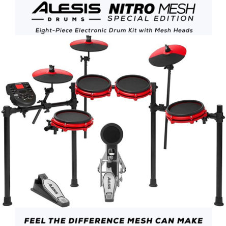 Nitro Mesh Kit Eight Piece Special Edition Red – Alesis