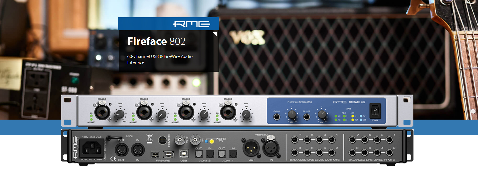 RME Fireface 802 60Channel USB & FireWire Audio Interface Display1